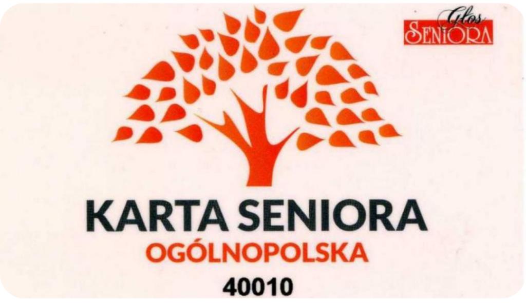 Zdjęcie Ogólnopolskiej Karty Seniora. Na środku czerwona grafika symbolizująca drzewo. Poniżej napis: Karta Seniora; Ogólnopolska.