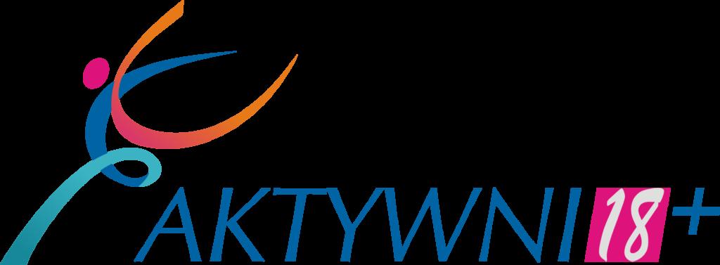 Logo Aktywni 18+, napis aktywni niebieskimi drukowanymi literami, 18 szare cyfry w różowym kwadracie.