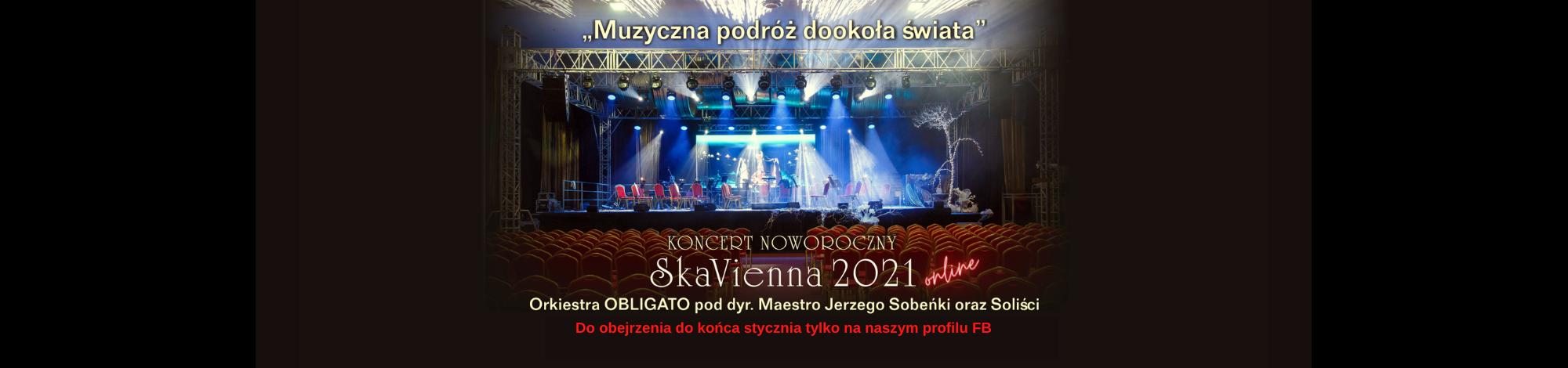 W tle zdjęcie oświetlonej sceny, gotowej na rozpoczęcie koncertu. Przed sceną rzędy pustych krzeseł. Napis:
