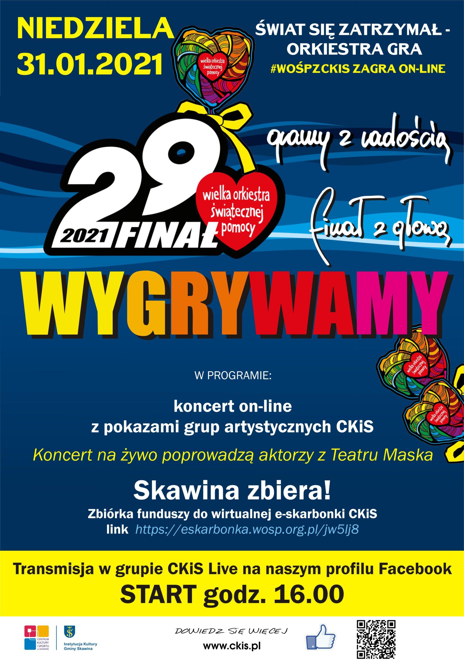 Plakat zapowiadający 29 finał Wielkiej Orkiestry Świątecznej Pomocy.
