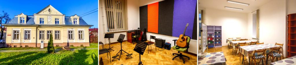 Kolaż składający się z 3 zdjęć Dworu Ludwikowskich, ułożonych w jednym rzędzie. Piersze zdjęcie to widok na frontową elewację Dworu. Drugie zdjęcie przedstawia wystrój i wyposażeni sali muzycznej, a trzecie to widok ukazujący salę plastyczną.