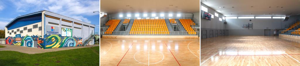 Kolaż składający się z 3 zdjęć Hali Widowiskowo-Sportowej, ułożonych w jednym rzędzie. Pierwsze zdjęcie to widok budynku hali od strony ul Konstytucji 3 Maja. Drugie zdjęcie przedstawia trybuny na dużej sali, a trzecie zdjęcie to widok na cały parkiet w dużej sali.