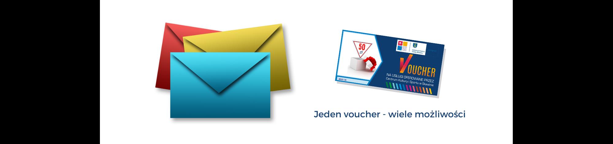 Na białym tle po lewej stronie trzy koperty: czerwona, żółta i niebieska. Po prawej stronie voucher na usługi CKiS. Poniżej granatowy napis: