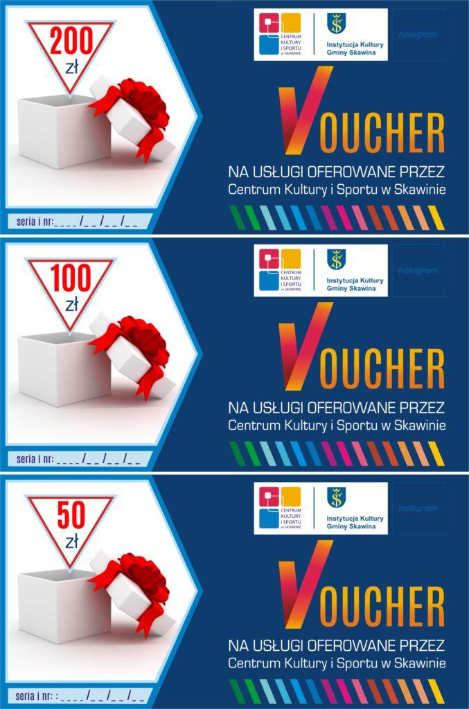 3 wzory voucherów CKiS na różne kwoty: 200 zł, 100 zł, 50 zł.